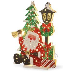 Holiday Santa & Lamp Post Wooden Christmas Decor